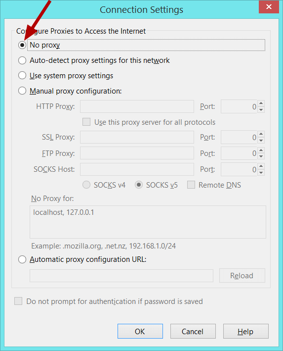 firefox no proxy settings